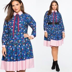 Eloquii Blue Floral Color Block Fit Flare Dress 18